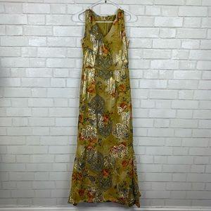 Vintage 1970s Metallic Silk Floral Maxi Y2814